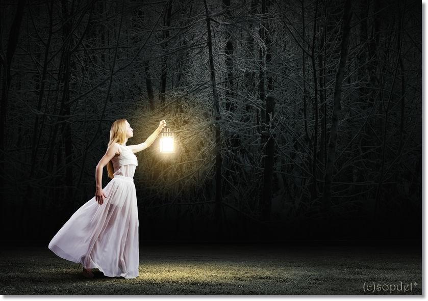 30275596 - young woman in white long dress walking in night wood
