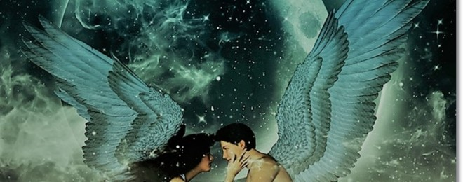 3d illustration of an Angels in heaven land,Mixed media for book illustration or book cover